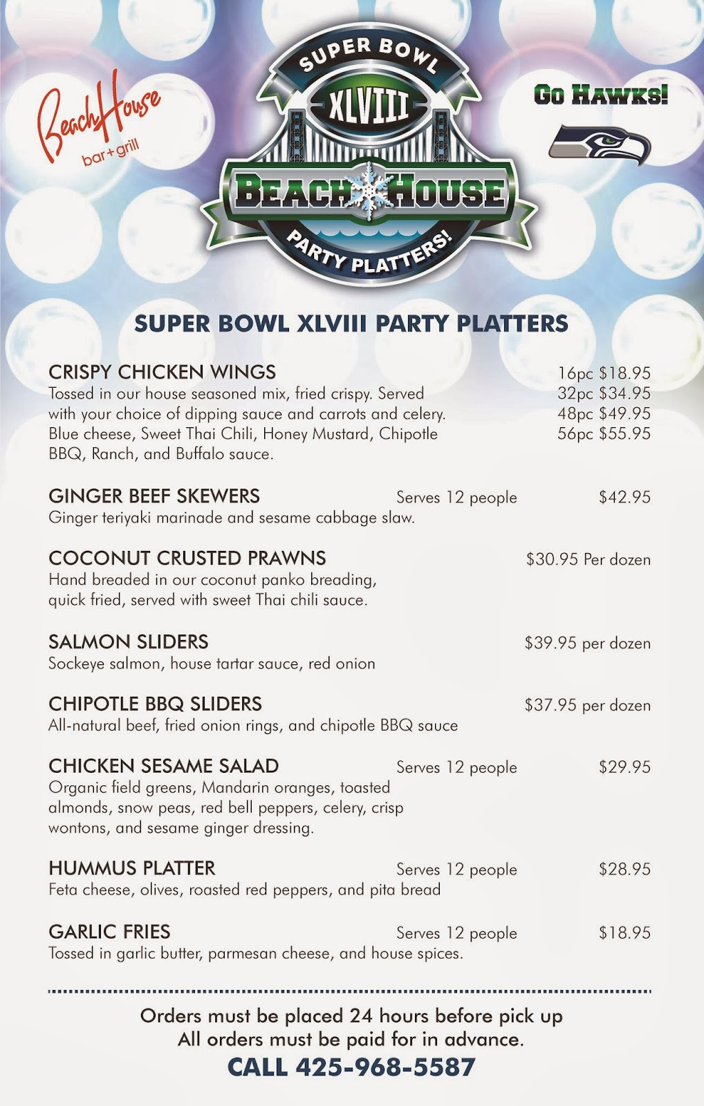 Super Bowl Party Platters Menu