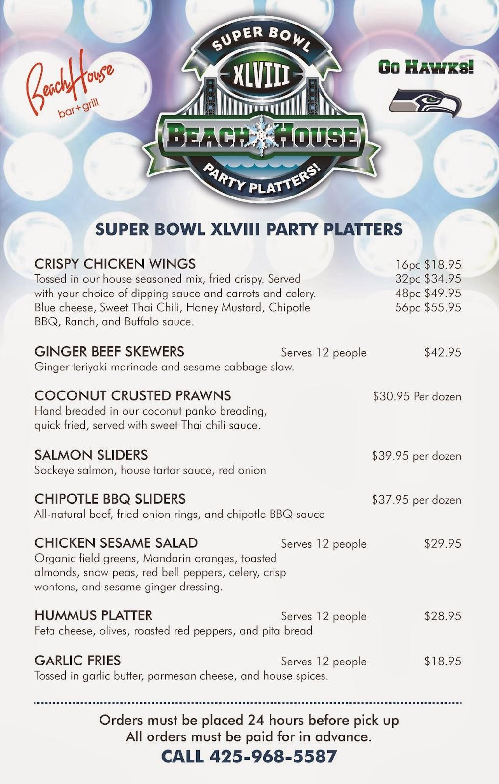 Super Bowl Party Platters Menu