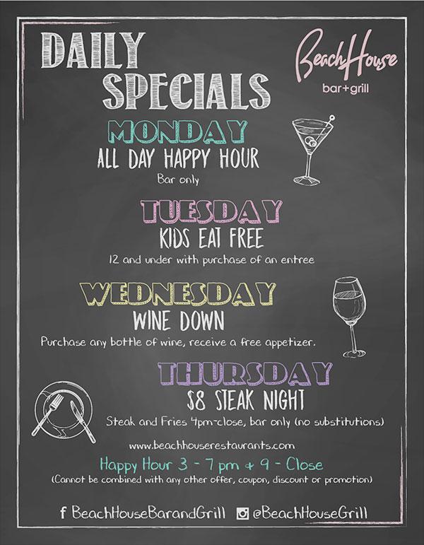Daily Specials Beach House Restaurants Kirkland Waterfront